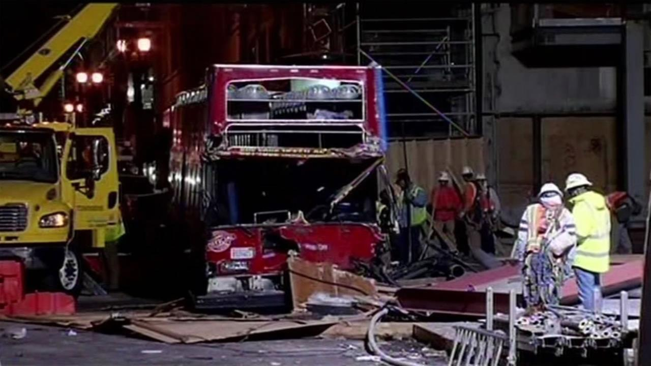 The wreckage of City Sightseeing tourbus in San Franciscos Union Square after it was involved in a multi-car crash Nov. 14, 2015.