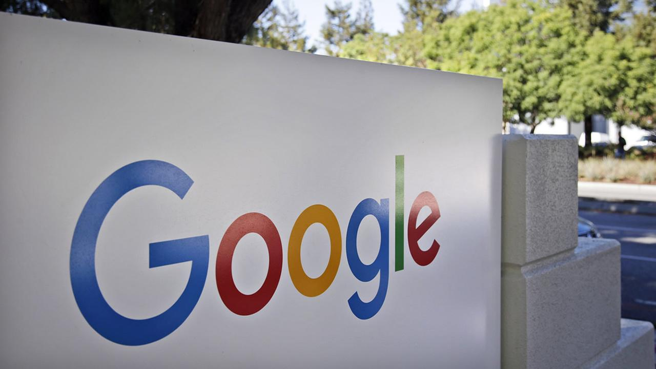 This Oct. 20, 2015 photo shows signage outside Google headquarters in Mountain View, Calif. (AP Photo/Marcio Jose Sanchez)