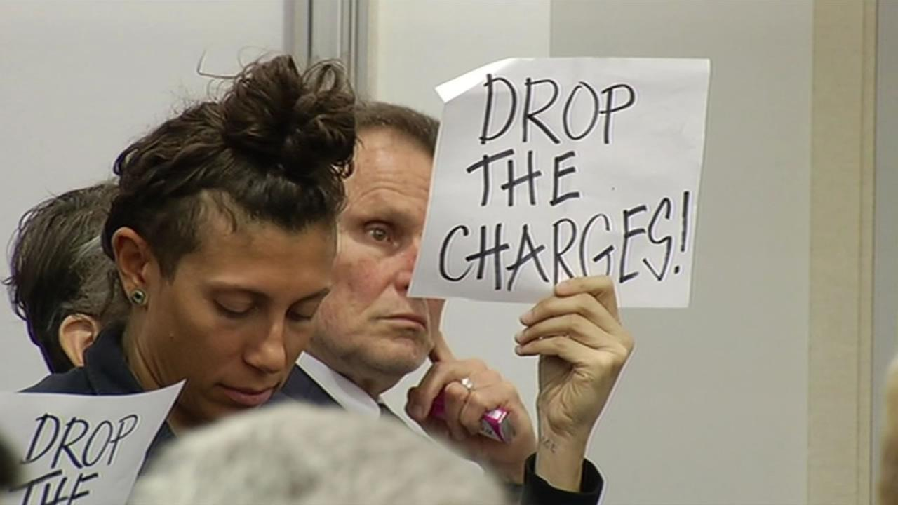 Protesters addressed the BART board Thursday, Nov. 19, 2015 and asked that they drop its prosecution of activists who chained themselves to trains in West Oakland last year.