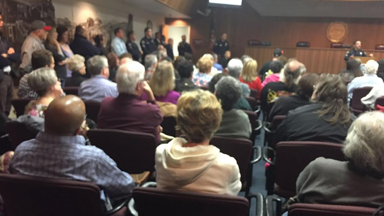 Hundreds attended a South San Francisco City Council meeting Thursday, Nov. 19, 2015 to address a recent spate of home invasion robberies.