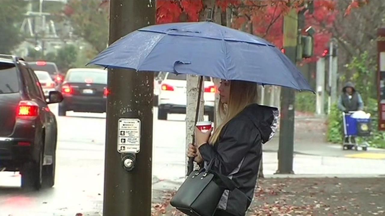 A woman stands with an umbrella as rain moves across the Bay Area on Tuesday, November 24, 2015.
