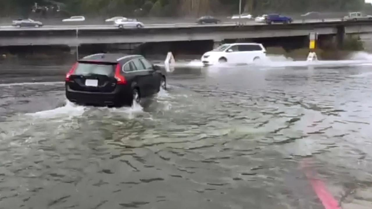 King tides made travel miserable for North Bay drivers on the Highway 101 exit to the Shoreline Highway in Mill Valley,Calif. on Tuesday, November 24, 2015.