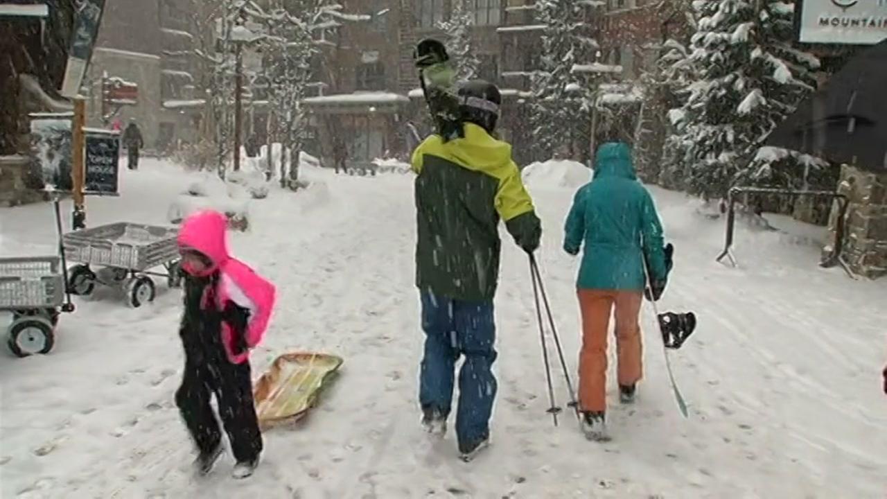 Skiers are seen walking around Northstar Village in Truckee, Calif. on Wednesday, November 25, 2015.