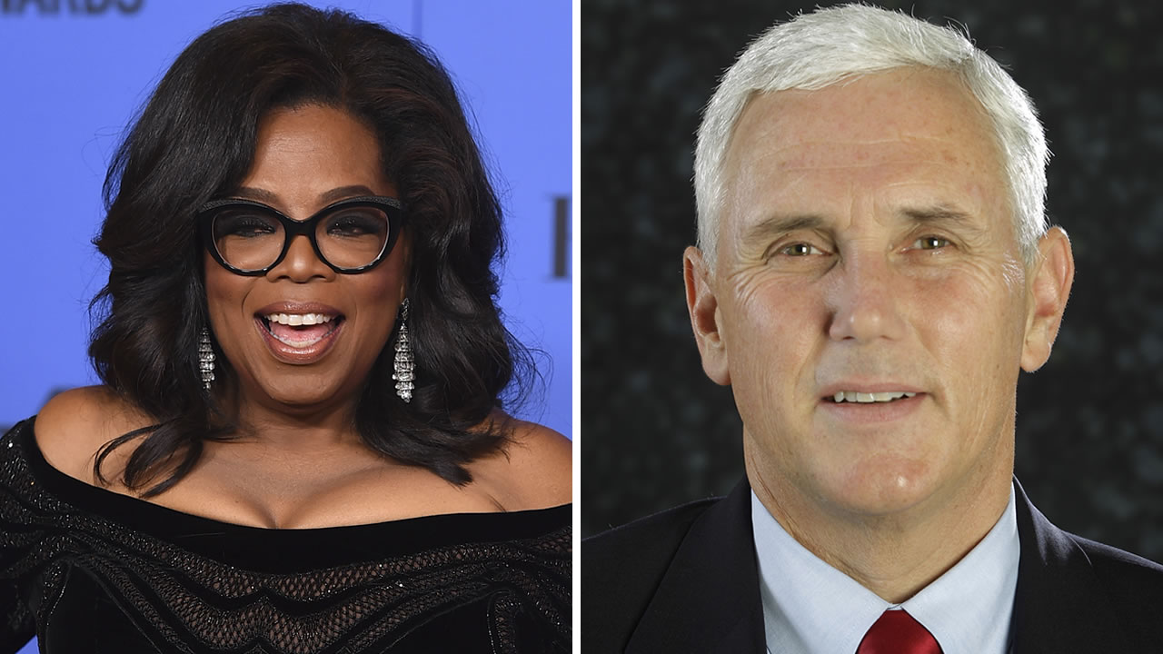 Oprah Winfrey poses in the press room in Beverly Hills, Calif., left, and Mike Pence poses for a photo before an interview in Carmel, Ind., right.