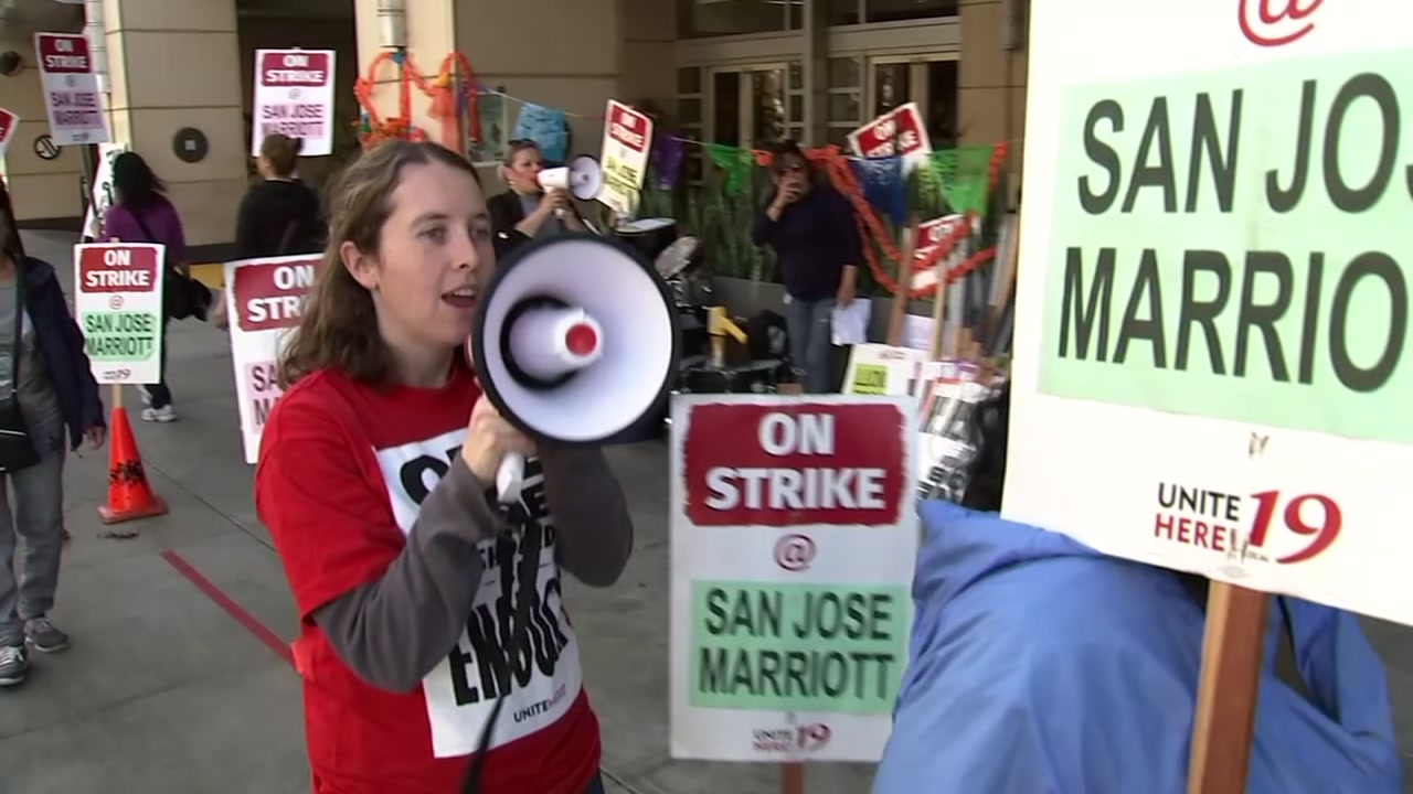 The strike at the San Jose Marriott and at seven other hotels in San Francisco involves about 2,700 union-represented employees.