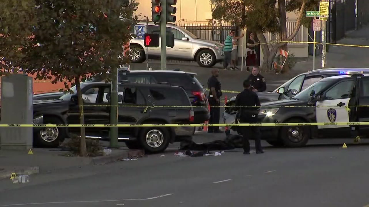 An officer-involved shooting took place after a police pursuit in Oakland, Calif. on Thursday, Nov. 1, 2018.