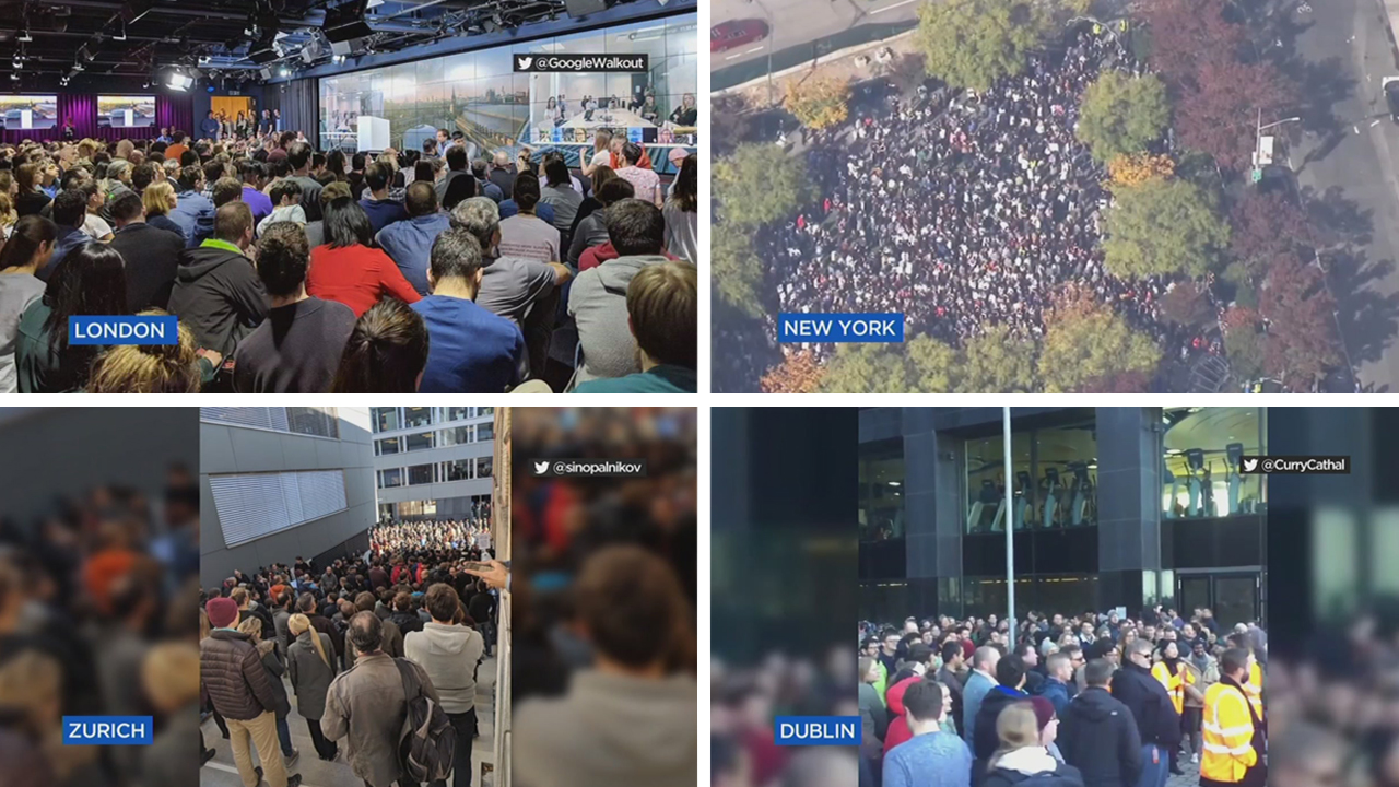 From New York to Dublin, Ireland thousands of Google employees walked out in solidarity around the world to protest the companies treatment of women.