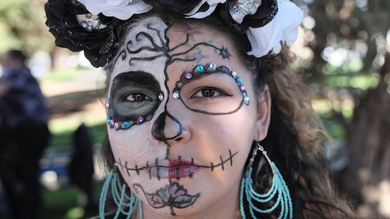 Dia de los Muertos makeup is pictured during an event at Garfield Square in San Franciscos Mission District on Friday, Nov. 2, 2018.