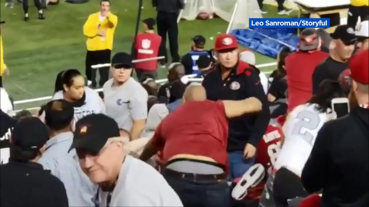 Fans fight during Raiders/49ers game at Levis Stadium on Thursday, November 2, 2018.