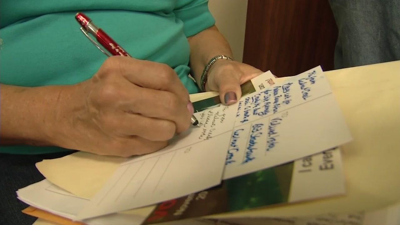 Senior volunteers write postcards to get out the vote in Walnut Creek, Calif., on Nov. 2, 2018.