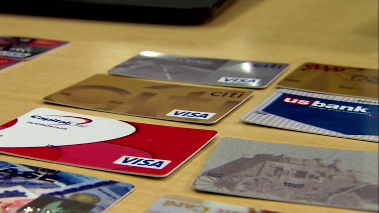Credit cards on display in this file photo.