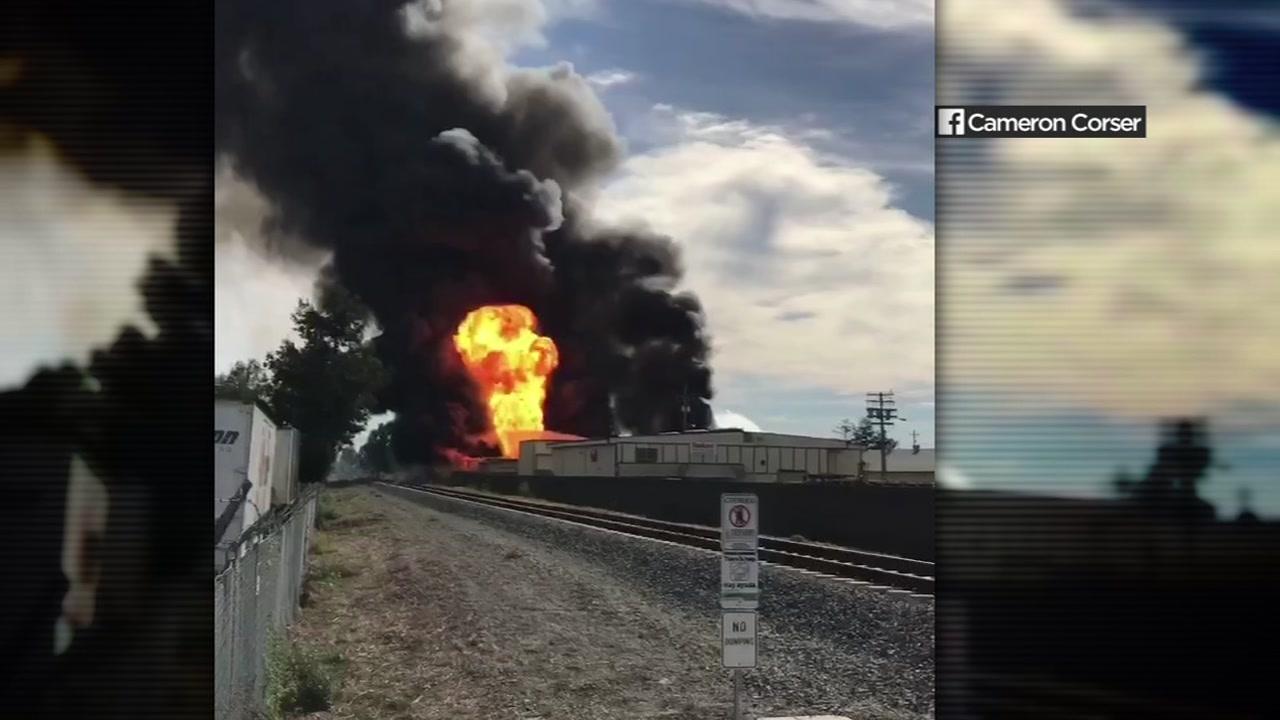 A fire at a recycling facility in Santa Rosa, Calif., on Nov. 3, 2018.