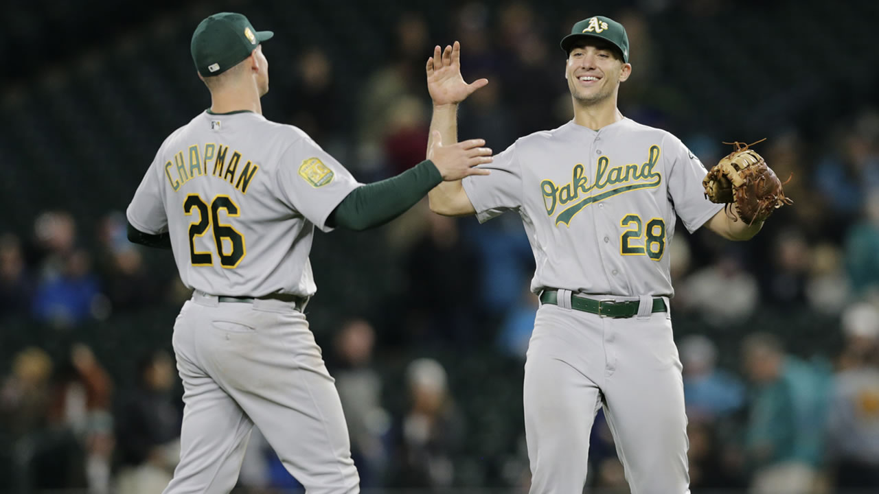 Oakland Athletics Matt Chapman, left, and Matt Olson, right, celebrate the 7-3 win over the Seattle Mariners in a baseball game, Monday, Sept. 24, 2018, in Seattle. (AP Photo/John Froschauer)