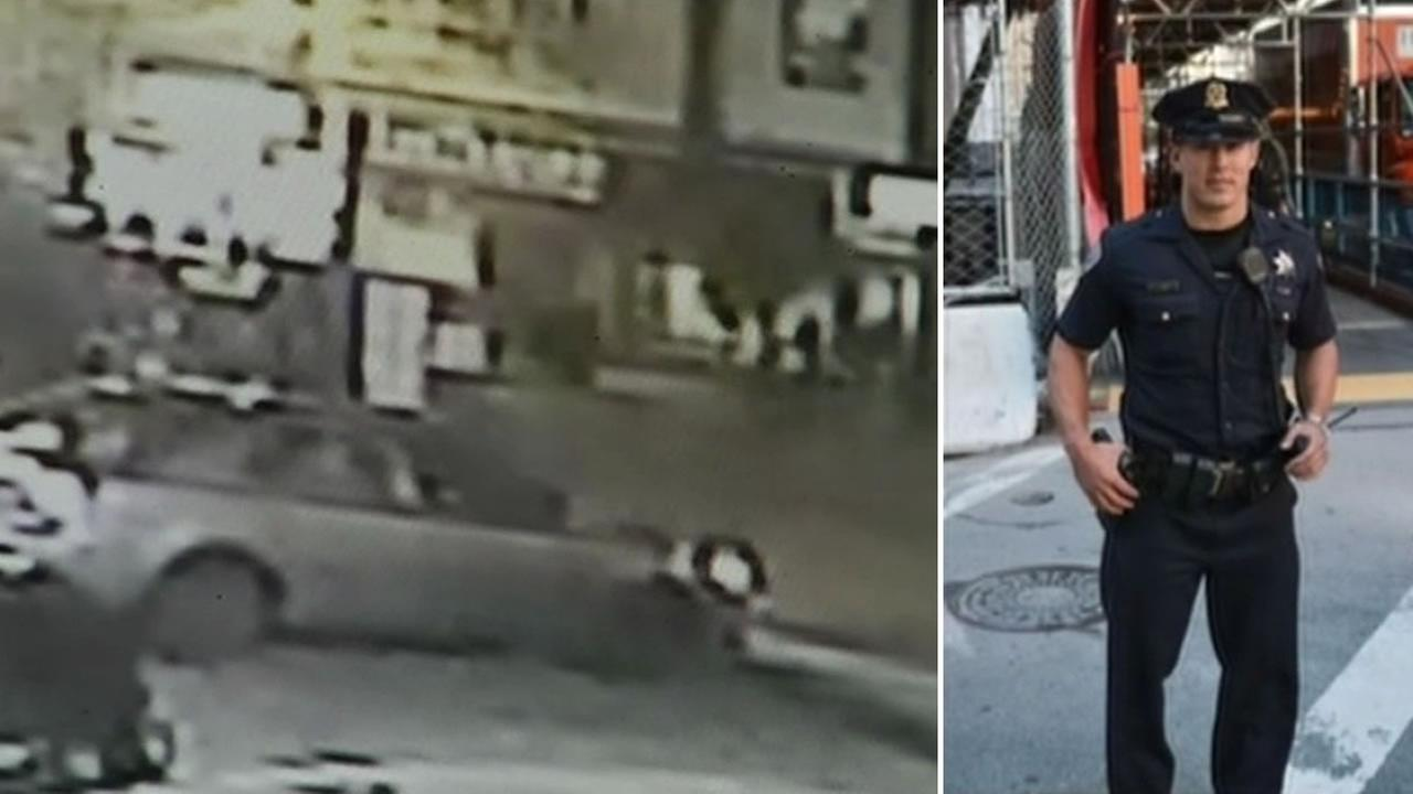 Surveillance video shows a person running away from the scene of a hit-and-run accident in San Franciscos North Beach neighborhood  Nov. 29, 2015.