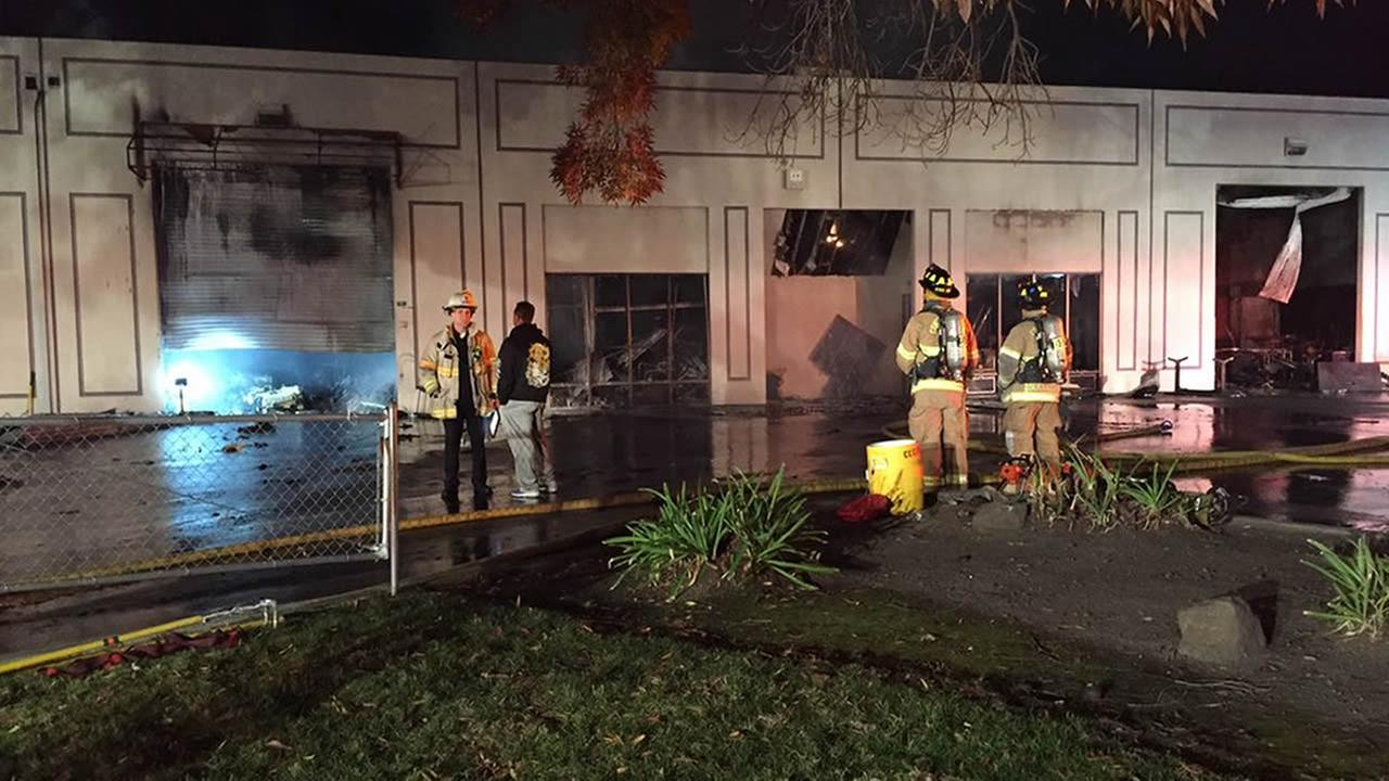 The Contra Costa County Fire Department battled a 2-alarm fire on Thursday, November 26, 2015, on Diamond Way in Concord, Calif.