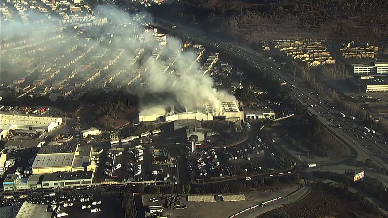 Fire at recycling center in Brisbane, California on Tuesday, November 6, 2018.