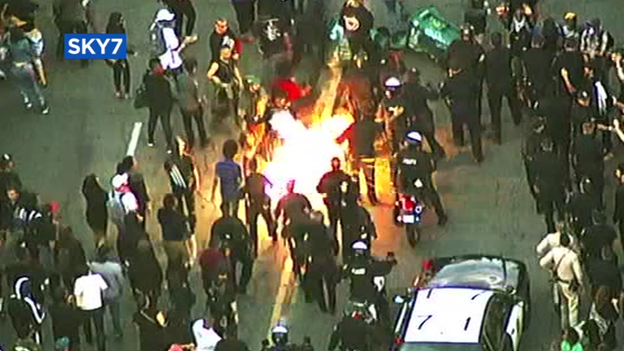 SKY7 caught an explosion in the streets of Oakland, Calif. during a protest on July 23, 2018.