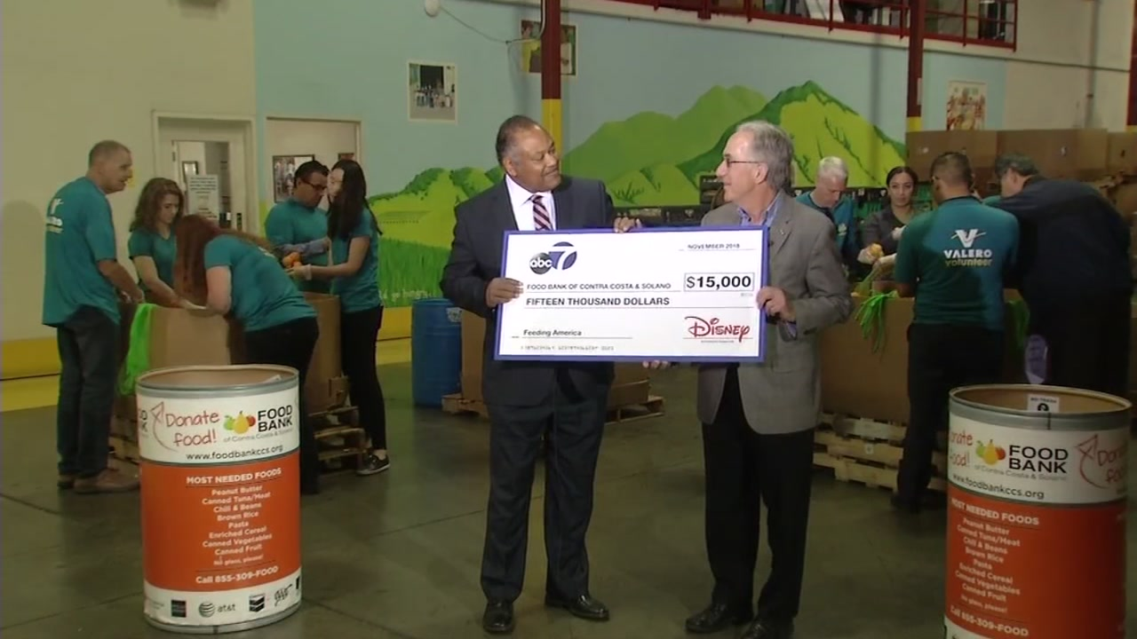 Eric Thomas presented a check to the Food Bank of Contra Costa and Solano County in Concord, Calif. on Wednesday, Nov. 7, 2018.