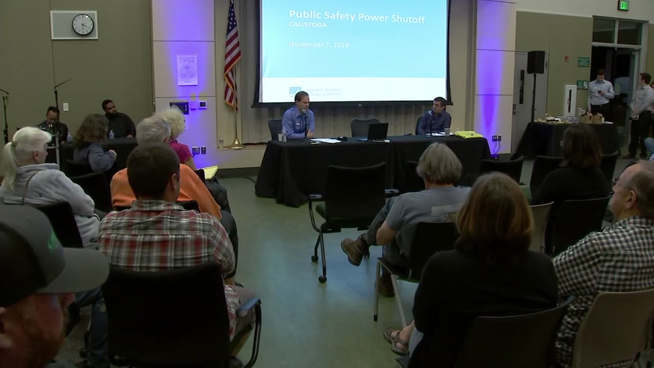 Small business owners came out in full force, demanding answers from PG&E, who held a town hall meeting in Calistoga, Calif. on Wednesday, Nov. 7, 2018.