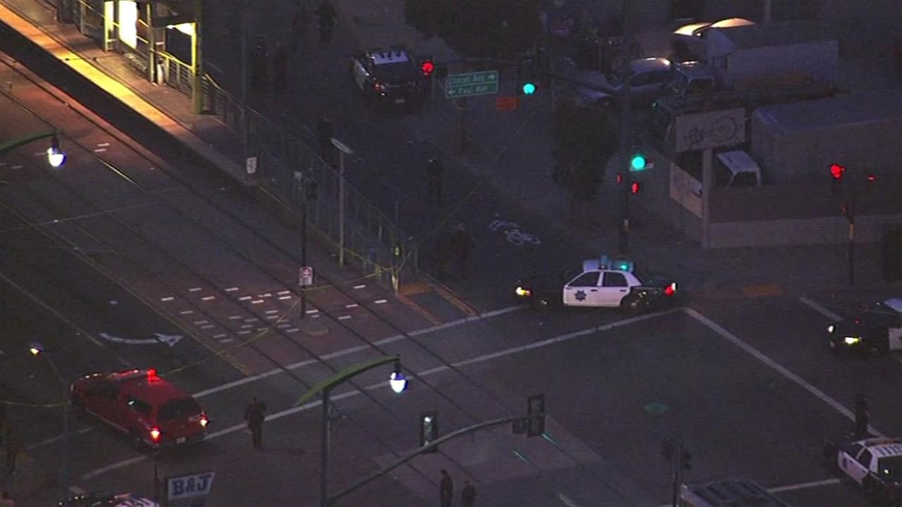 San Francisco police officers were on the scene of an officer-involved shooting at Third Street in the Bayview District December 2, 2015.