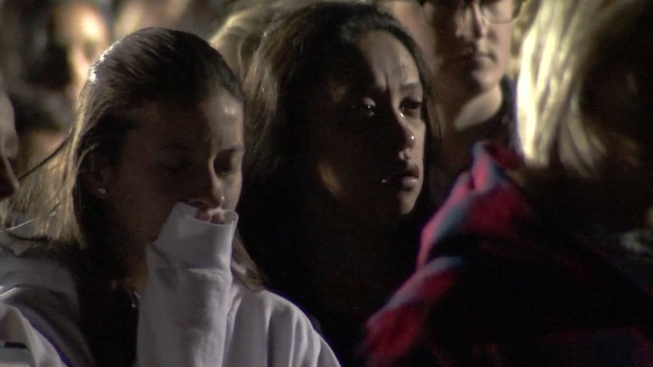 Hundreds filled the soccer field at Vintage High School in Napa, Calif., on Nov. 8, 2018, to mourn the death of Alaina Housley.