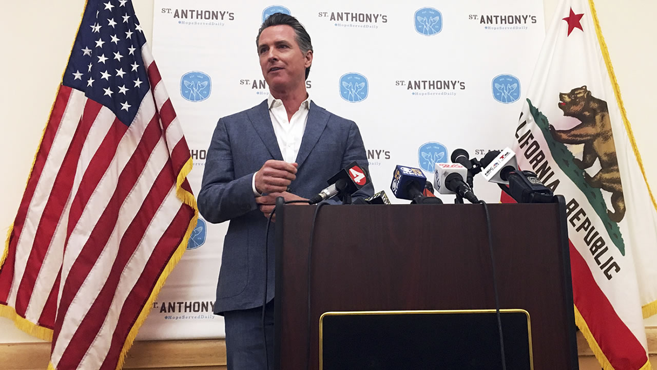 California Lt. Gov. and now governor-elect Gavin Newsom makes his first public comments after his election in San Francisco Thursday, Nov. 8, 2018.