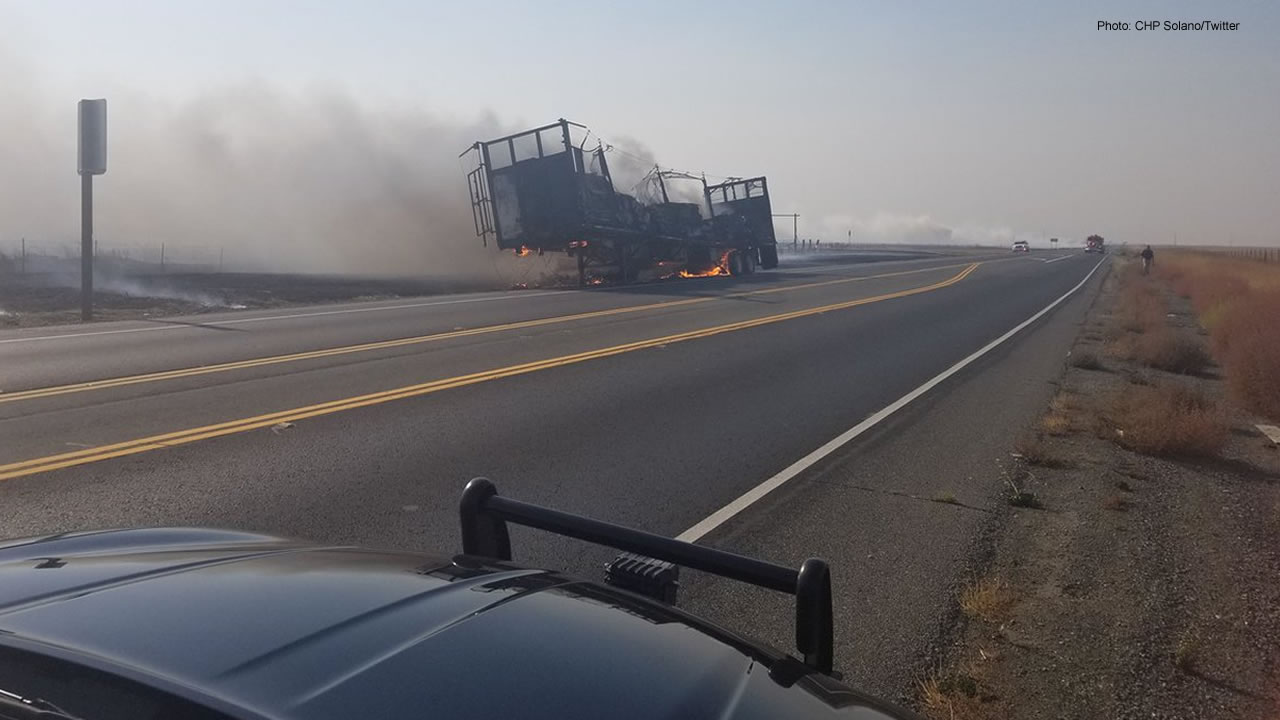 The CHP tweeted this photo of a fire on Highway 12 in Solano County, Calif. on Thursday, Nov. 8, 2018.
