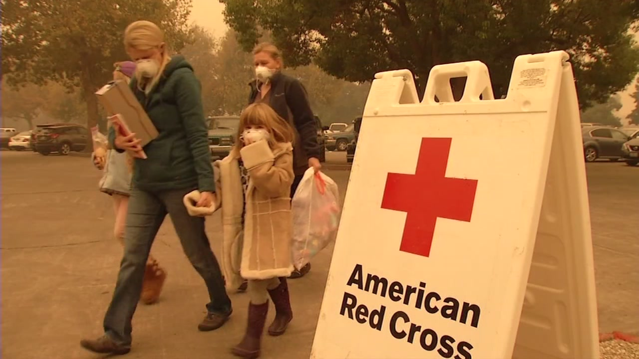 Evacuees are seen at a Red Cross shelter in Chico, Calif. on Friday, Nov. 9, 2018.