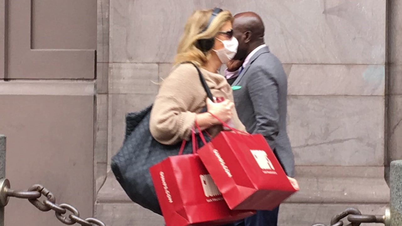 A woman wears a mask while shopping in San Francisco on Nov. 9, 2018.