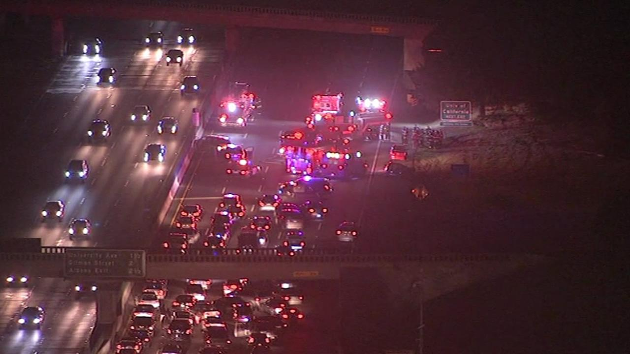 A multiple vehicle accident shut down I-80 in Berkeley on Saturday, December 5, 2015.