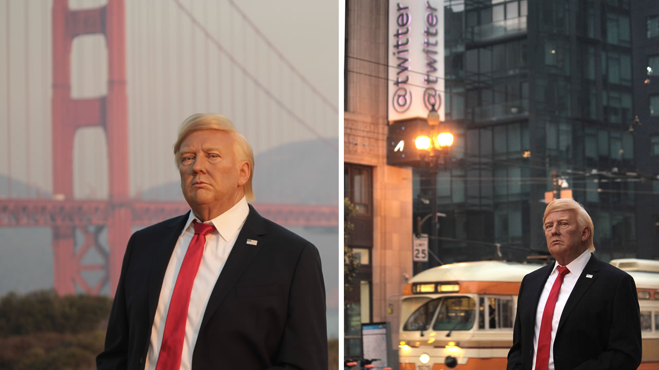Madame Tussauds San Francisco took a wax figure of President Donald Trump on a tour of the city.