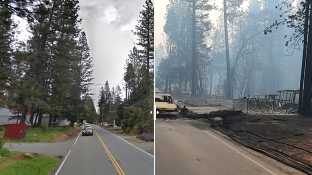 These before and after images show the destruction along Skyway road in the town of Paradise, CA.