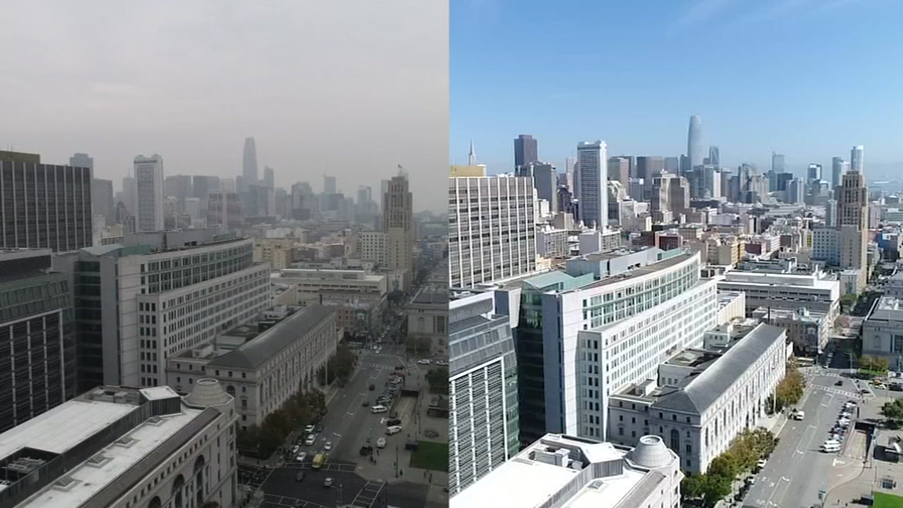 Video captured by DroneView 7 shows how smoke from the devastating Camp Fire in Butte County has significantly impacted air quality throughout the San Francisco Bay Area.