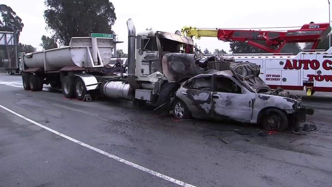 A big rig crash involving 20 cars has shut down northbound lanes of Highway 1 in Santa Cruz.