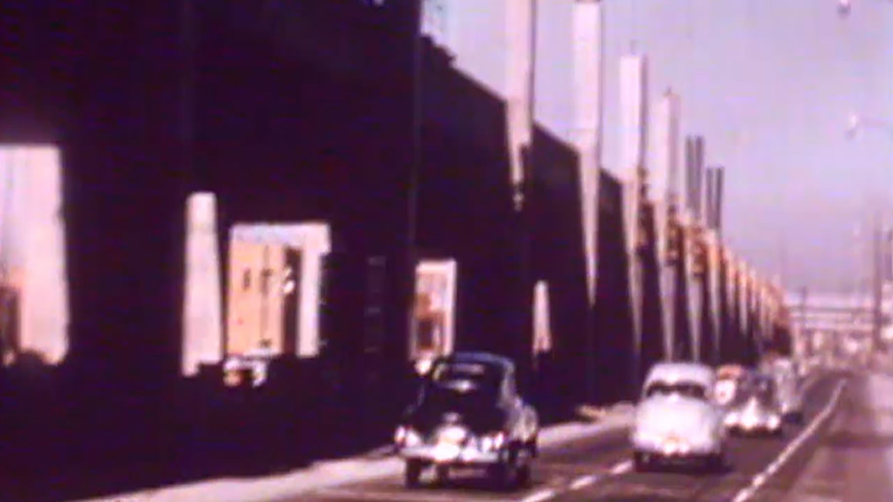 This photo from an old transportation film shows the Cypress Structure connected to I-880 in Oakland, Calif.  It was demolished after the 1989 Loma Prieta Earthquake.