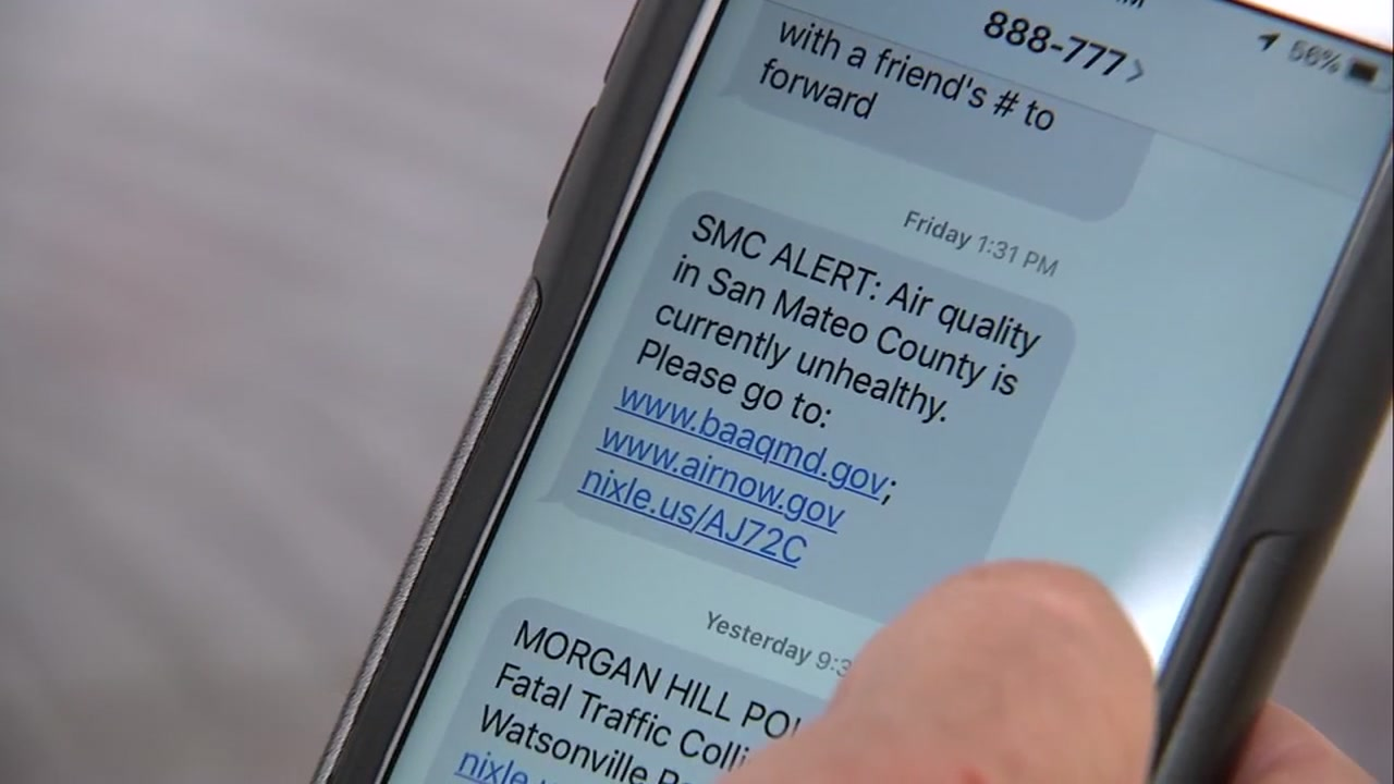 A text message alert from San Mateo County is seen on a cellphone on Tuesday, Nov. 13, 2018.