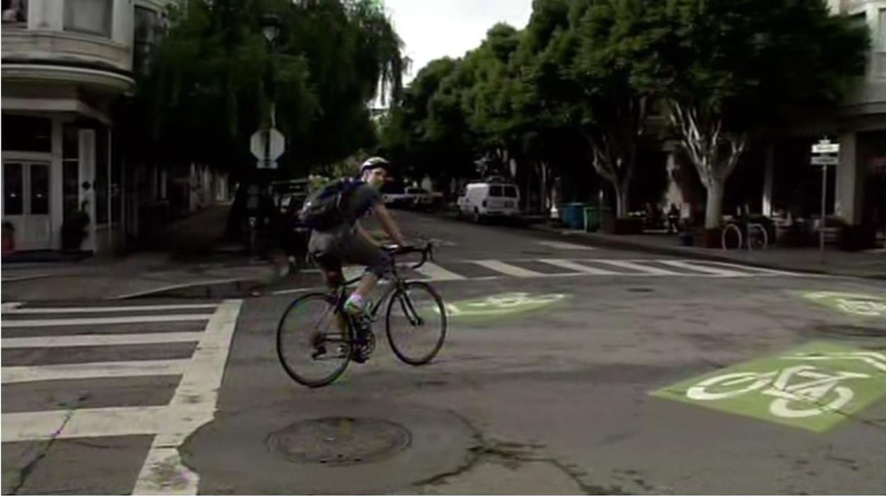 This undated image shows a bicyclists riding along the Wiggle bike route in San Franciscos Lower Haight neighborhood.