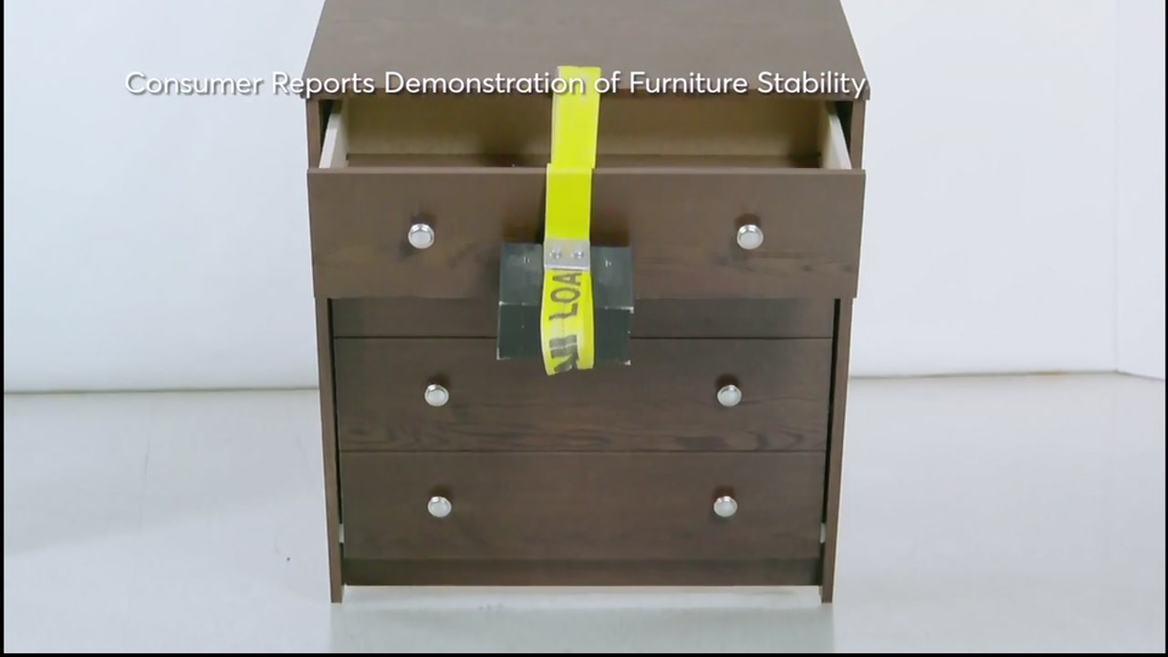 Consumer Reports tests the stability of a dresser.
