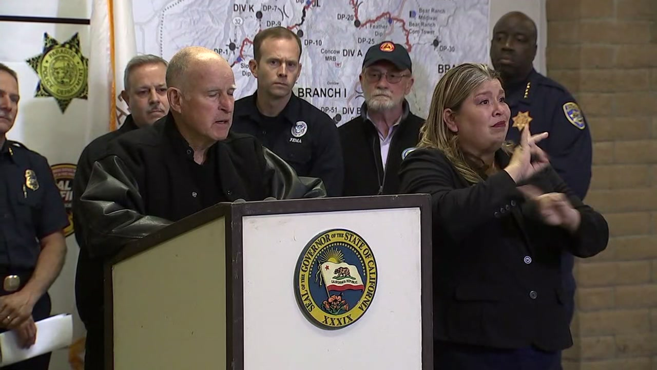 Governor Jerry Brown is seen during a press conference on the Camp Fire in Butte County, Calif. on Wednesday, Nov. 14, 2018.