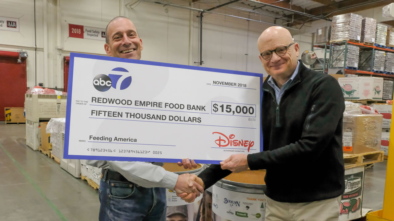 Wayne Freedman presented a check to the Redwood Empire Food Bank in Santa Rosa, Calif. on Tuesday, Nov. 27, 2018.