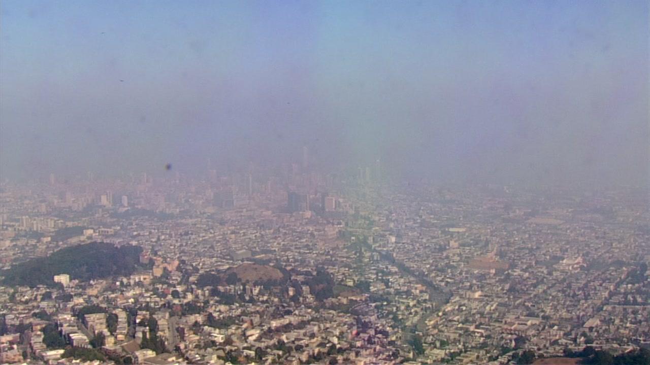 Smoke filled sky over San Francisco on Wednesday, November 14, 2018.
