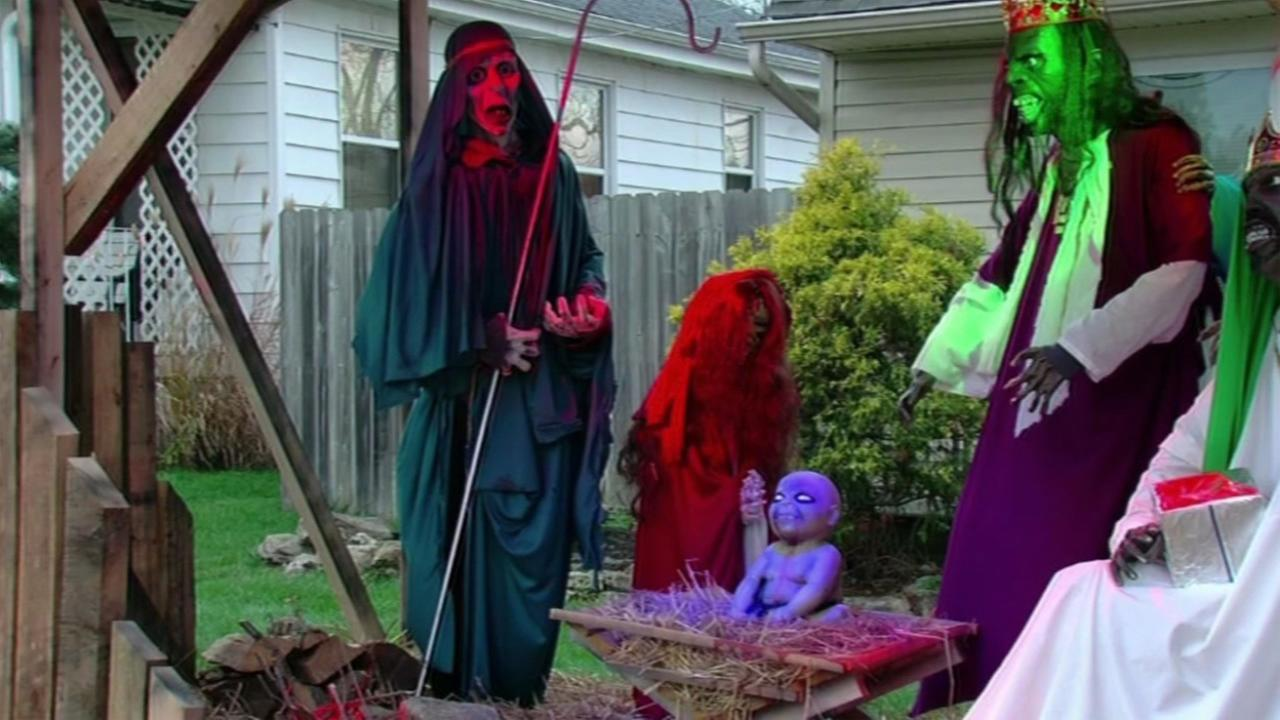 This undated image shows the zombie-themed nativity scene in Ohio homeowner Jasen Dixons  front yard.