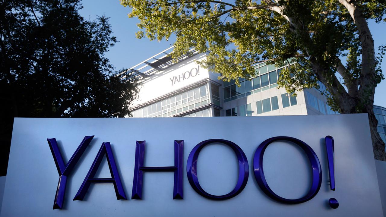 This Nov. 5, 2014 photo shows signage outside Yahoos headquarters in Sunnyvale, Calif.