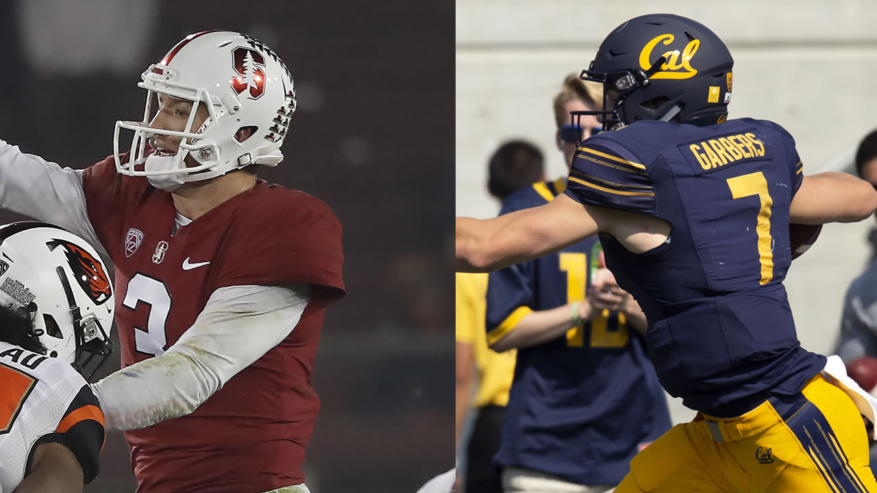 Stanford quarterback K.J. Costello, left, is pictured next o