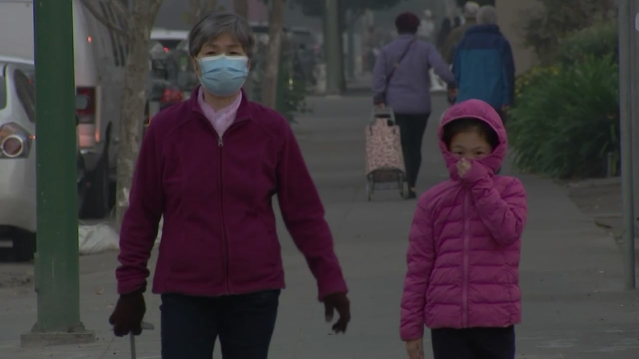 People walking in smoke in the Bay Area on Thursday, November 16, 2018.