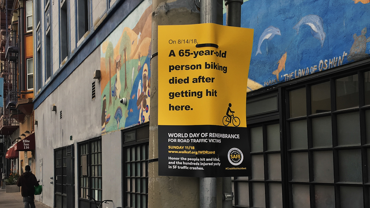 A sign marks the spot in San Franciscos Tenderloin area where a 65-year-old cyclist was killed on August 14, 2018.
