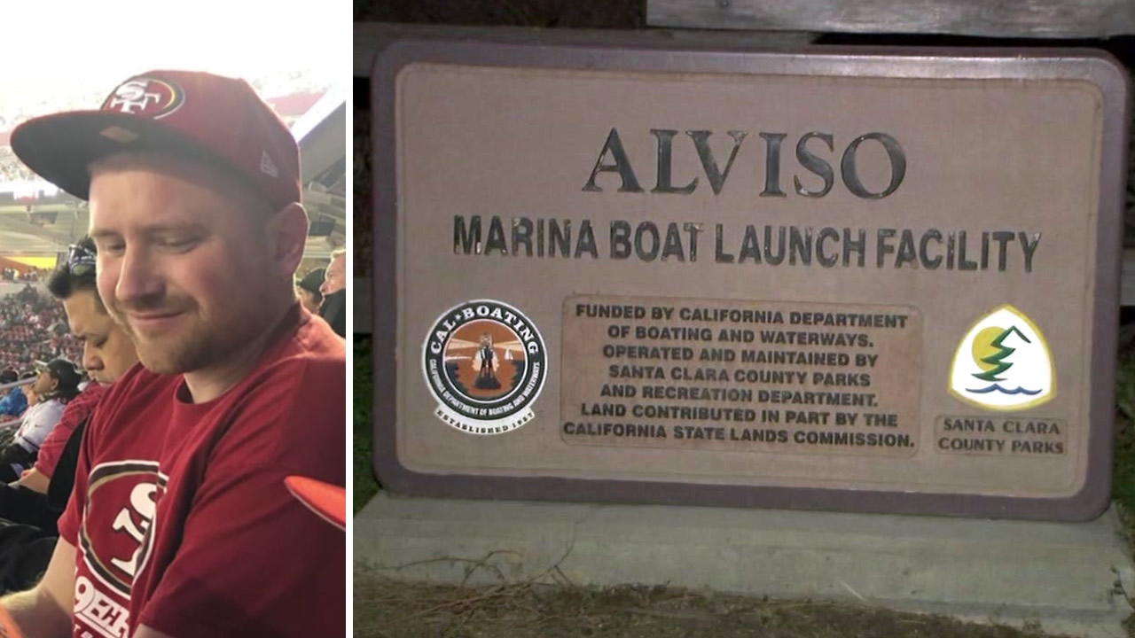 These undated images show missing person Ian Powers and the Alviso Marina in San Jose, Calif.
