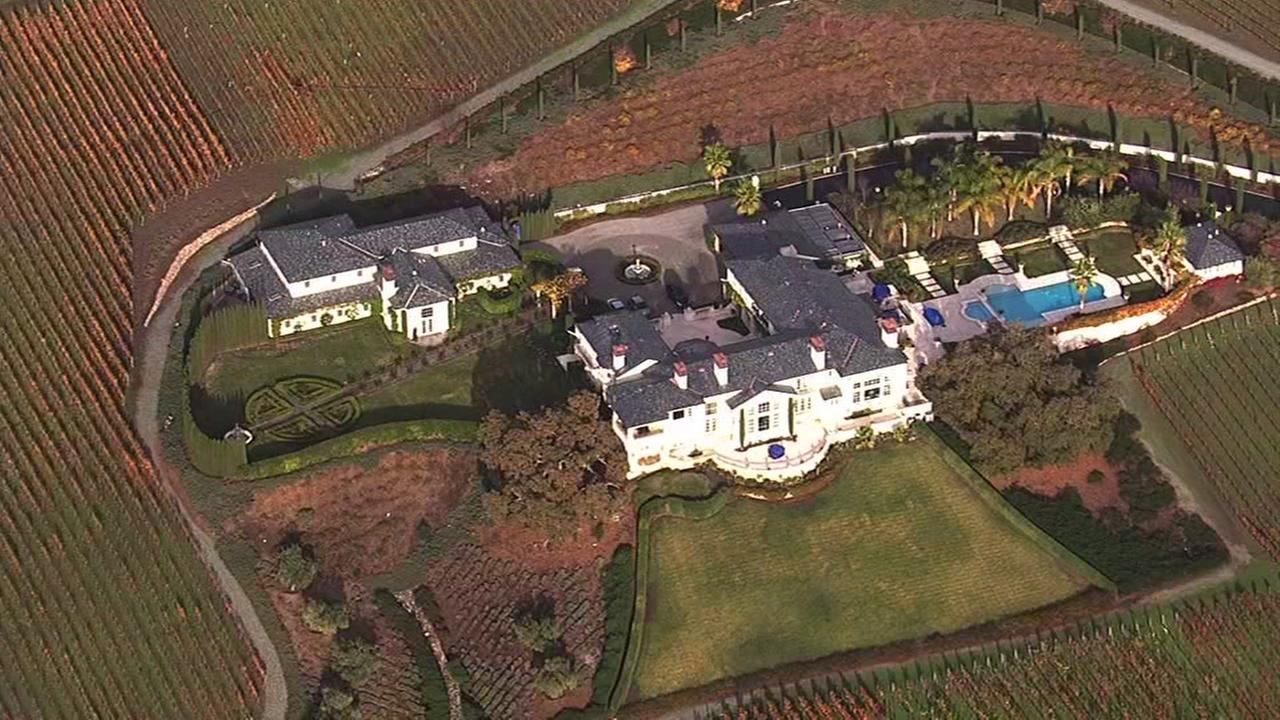 This image from Sky7 HD shows winemaker St. Moritz Dorfs home in Alamo, Calif. on Thursday, December, 10, 2015.