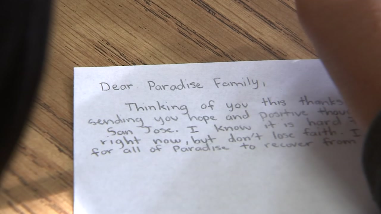 San Jose school kids want people living in shelters in Butte County to feel the kindness of strangers, so theyre sitting down and writing letters of support.
