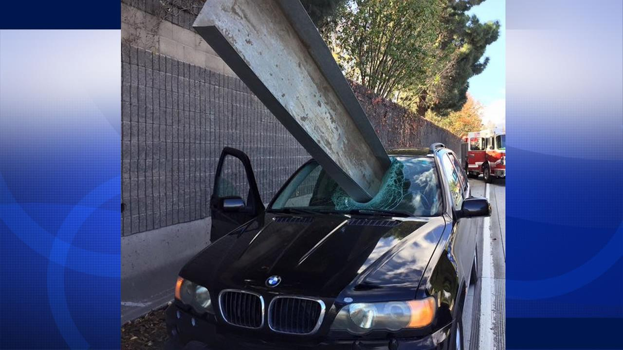San Jose firefighters tweeted a terrifying image Dec. 11, 2015 of a metal beam that pierced the windshield of a car on southbound Interstate 280 in San Jose, Calif.